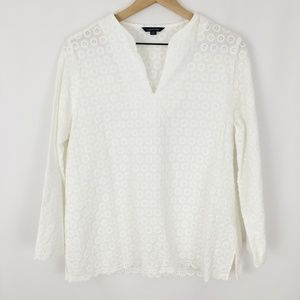 Land's End Eyelet Cotton Blouse |F17